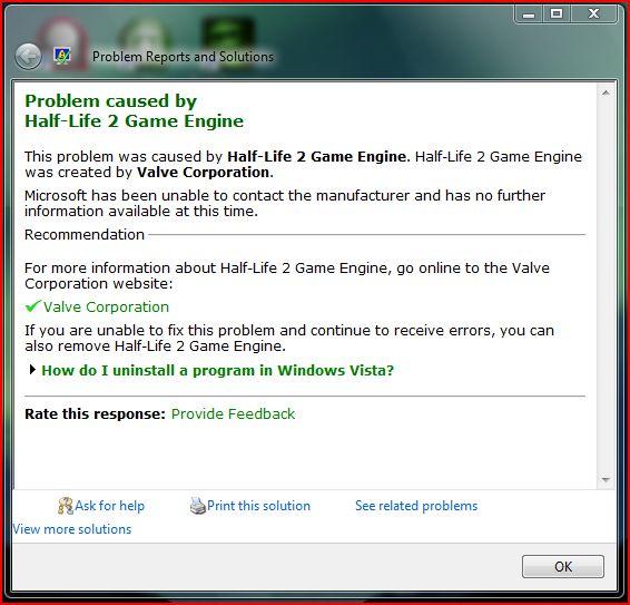 Crash caused by Half-Life 2 Game Engine